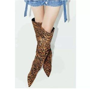 Zara Leather Zebra Print Kitten Heel Boots Slouch